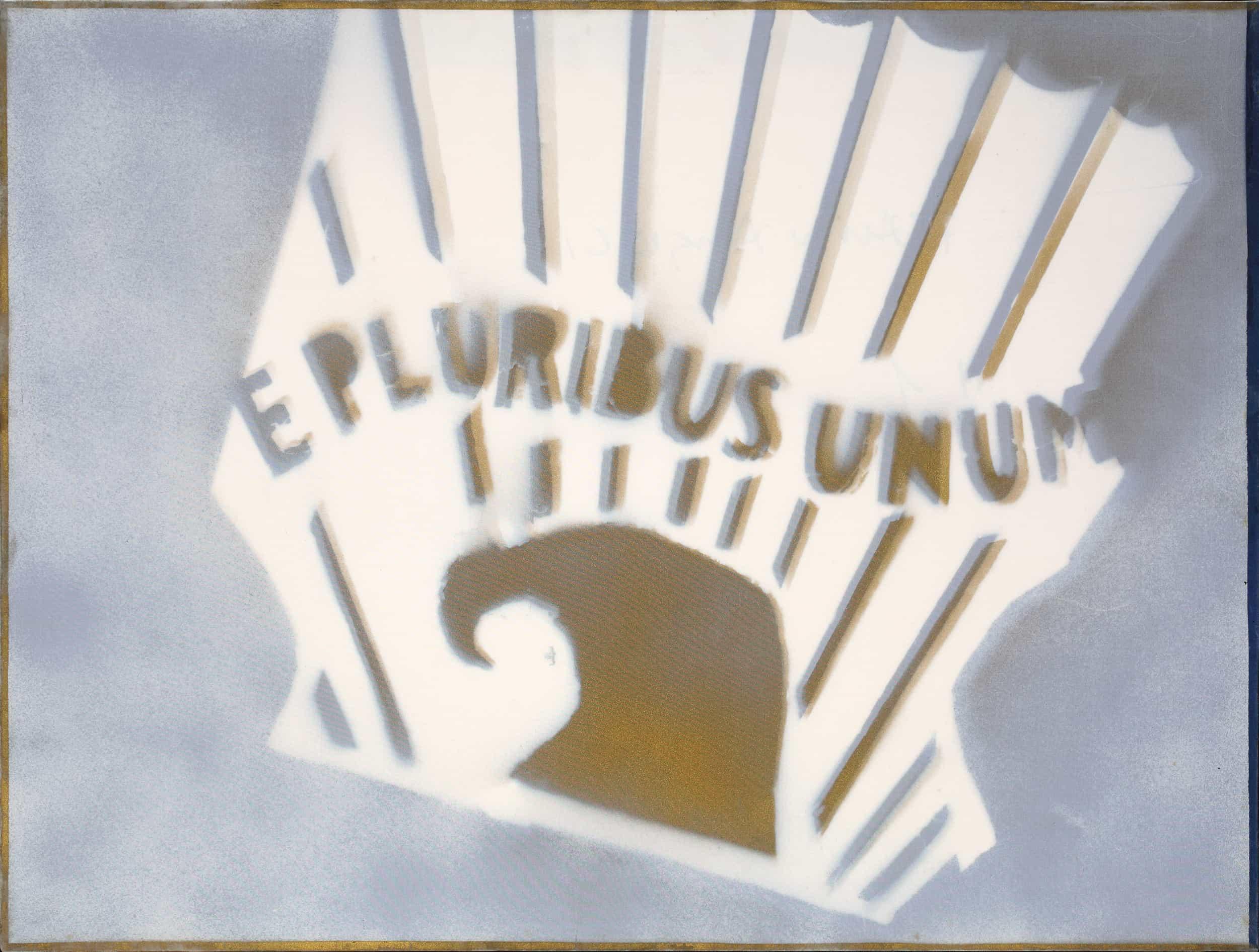 Angeli - Senza titolo (E Pluribus Unum), prima metà anni '70 Tecnica mista su tela con velatino cm 60x80