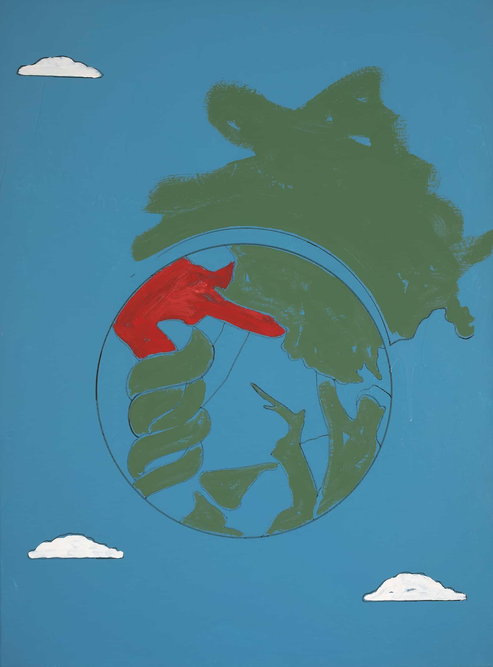 Tano Festa - Senza titolo, 1972 - Samlto e acrilico su tela, cm 80,5x60